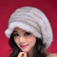 2014 Winter 100% Real Mink Fur Cap, Mink Knitted Hat Natura Fur No.SU-1394 Free Shipping