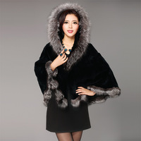 2013 new rabbit wool coat silver fox collars shawl pipi grass