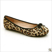Genuine Horsehair Fashion Leopard Print  Lady's Flats Round Toe Comfortable High End Women's Shoes FTB046
