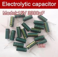 Free shipping 100pcs 3300UF 16V electrolytic capacitor,16V 3300 microfarad capacitors