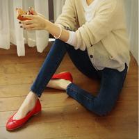 Elastic skinny pants female slim jeans mid waist plus size pencil female trousers