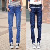 Female straight mid waist lacing elastic waist jeans trousers elastic