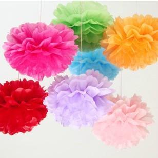 "40 pcs/lot 12"" (30cm) Tissue Paper Pom Poms DIY Flower Festival Party Decoreation(China (Mainland))"