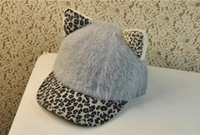 2013 Winter New Arrival Women's Orecchiette cute baseball cap winter warm fur cap  free shipping