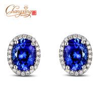 14k Gold 3.12ct AAA Violetish Blue Tanzanite Diamond Engagement Earrings Studs
