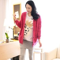 Maternity clothing cardigan top autumn and winter thickening sweater outerwear loose trench puerperal