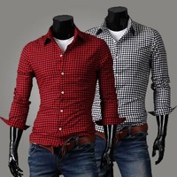 Free shipping Grid Men's Casual Fashion cotton shirt Men's casual shirts High quality dress shirt 2013 famous shirt size: M-XXL