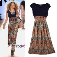 2014 new Hot sale casual flaro printed Bohemia dress Indigenous flavor long chiffon maxi dress strap dress