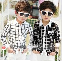 Wholesale - 5pcs/1lot 2014-2015 new fall boys cute white and black  plaid shirt long-sleeved  cool free shipping