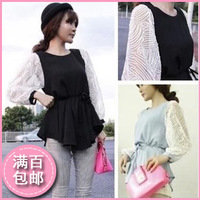Autumn lace patchwork chiffon shirt female medium-long slim o-neck long-sleeve basic shirt top