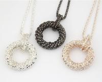 Metal decoration minimalist circle pendant long necklace / sweater chain fashion jewelry