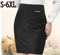 Jacquard Pencil Skirt Women New Fashion 2013 Bodycon Bandage Skirts High Waisted Knee Length Plus Size Big Size Black AW13K006