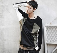 2013 t-shirt male fashion color block decoration long-sleeve T-shirt ct101 p65  -ppppp