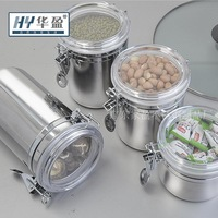 free shipping 4pieces/set   $8 one single Exquisite stainless steel  storage sealed cans dried fruit jar tea caddy candy jar
