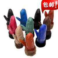 Winter male women's general sheepskin genuine leather boring sub- yarn thermal thickening cotton cycling gloves