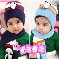 Baby ladybug cap bee winter hat child hat scarf twinset three-color 8 - 4