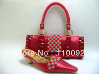most popular design  ladies shoes and  matching bags for party , african pattern big stone shoes and bag red--872C