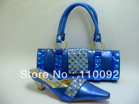 pretty design  ladies shoes and  matching bags for party , african pattern big stone shoes and bag blue--872B