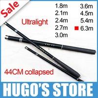 Free Shipping 1 piece carbon fiber ultra light 6.3m hand fishing pole rod for hand float fishing Bank fishing pole