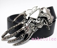 Male fashion personality buckle white belt skull the trend of casual pants hiphop punk female