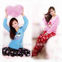 family footed pajamas Female lounge sleepwear twinset long-sleeve trousers polar fleece fabric autumn and winter