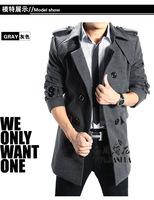 qiu dong outfit new men's windbreaker long coat cloth in the men's clothing han edition cultivate one's morality coat