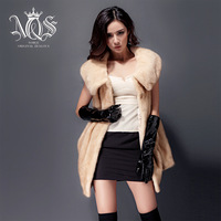 women winter parka fur 2014 autumn noble ladies vest color desert velvet mink fur overcoat  fur leather jacket real fox fur