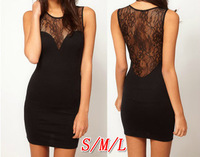 Fashion hot-selling perspectivity patchwork lace sexy slim hip slim sleeveless dress bandage dress women basic