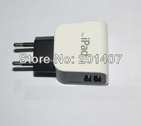 hot sale 2.1A   EU Plug Dual USB Port Power Adapter Charger For IPad 2 /3 IPhone 4 4s  free shipping cost