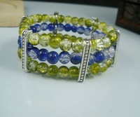 Cheap Sale 10 Pcs Stylish  6mm Round Blue / Grass Yellow  Glass  Crackle Beads  3 Row  Bracelets a0522