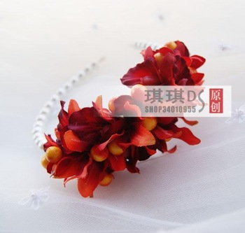 Pearl hair bands / hair band / orange color card emulation orchids