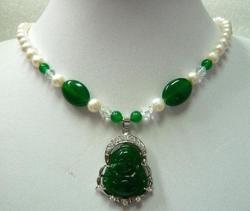 green jade/pearl necklace Buddha/Guanyin lucky pendant(China (Mainland))