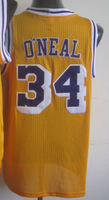 Free Shipping,#34 Shaquille O'Neal Yellow/Purple Men's Basketball  Jerseys,Cheap Sale, Accept mix order,Size:44-56Can mix order