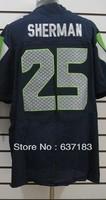 2013 Mens New Cheap Seattle #3 Russel #25 Richard Sherman Blue/White/Split American Rugby Football Sports Jerseys.Free Shipping