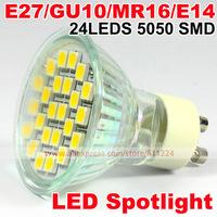 5W 24LEDs 5050SMD GU10 Spot Light Bulb Hight Power Led Lamp Warm White/ White Bright Downlight Energy Saving  Free Shipping