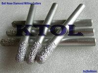 Free Shipping 5pcs SHK-8mm OVL-90mm Diamond CNC Ball Nose Router Bits Carving Tools,3D Long Rough Engraving CNC Millinging Tool