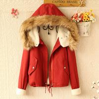 E4082-2013 large fur collar artificial berber fleece wadded jacket cotton-padded jacket cotton-padded jacket short jacket 0912