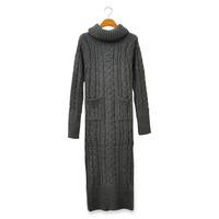 Heap turtleneck knitted sweater outerwear slim twist long sweater design one-piece dress full dress