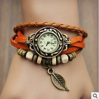 Retro leaves leather table bracelet watch the students watch the woman
