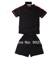 Customize 13/14 ajax away black thai quality kids soccer football jersey+shorts kits, size:16-28