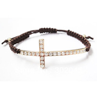 2013 Free shipping Fashion Christmas gift  jewelry knitted Shambhala bracelet cross bracelet