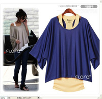 free shipping 2013 new design  fashion women cotton loose two-piece t-shirt casual type clothes L0049