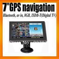 """FreeShipping Digital TV 7""""GPS Navigator+Bluetooth+AV IN +8GB+ISDB-T+FMT+Ebook Reader+Free Map Voice Guider"""