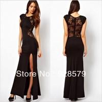 2013 HOT SALE Women Summer Fashion Party Star Short Sleeve Sexy Black Long Novelty Dress Woman Plus Size