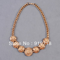 Wholesale Necklace Fashion Generous fashion enamel lion head pendant necklace, gold color