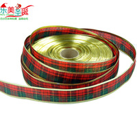 Christmas tree decoration ribbon gold ribbon fashion phnom penh plaid ribbon gift packaging divisa christmas ribbon