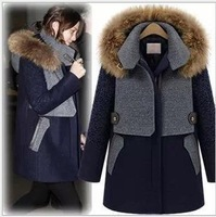 2013 new high-end women's woolen Outerwear Coat in the long section thick warm raccoon fur collar wool woolen Coats