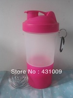 Free shipping+3 in 1 protein shaker bottle with netting &stainless stell mixing ball