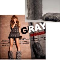 Gray Chic Ladies Girl Warm lower Leg warmer Boot Sleeve Cover Fur Imitation grey