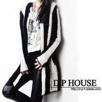 High Quality 2013 autumn black and white stripe slim o-neck sweater cardigan